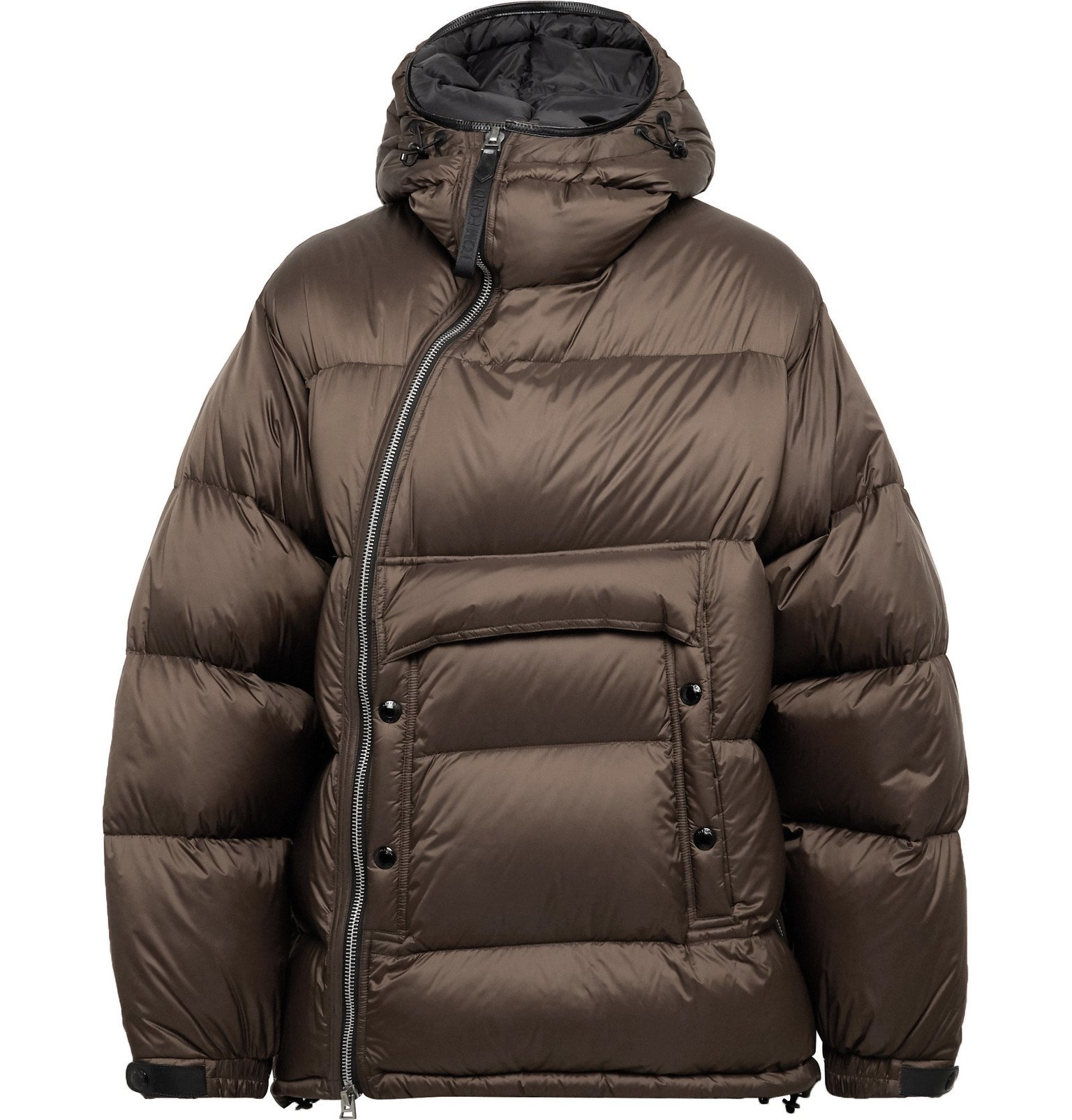 Photo: TOM FORD - Leather-Trimmed Quilted Shell Hooded Down Jacket - Brown