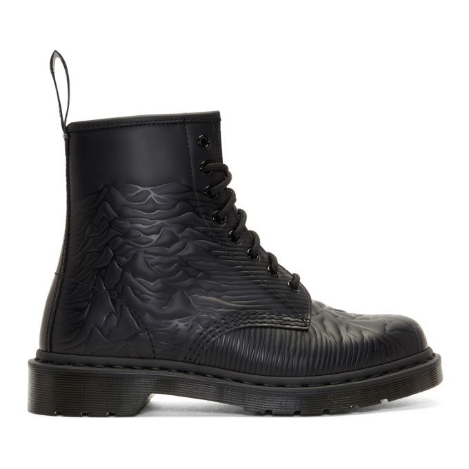 Photo: Dr. Martens Black Joy Division Unknown Pleasures 1460 Boots