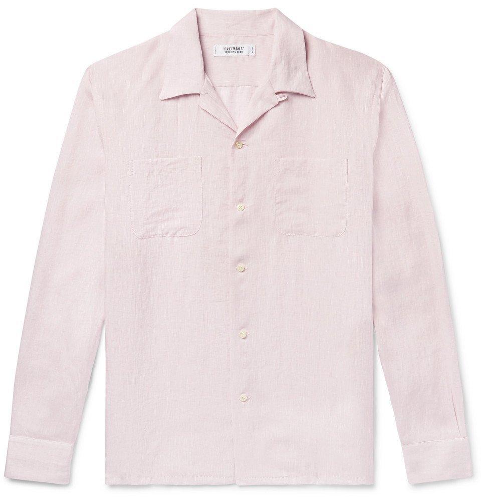 Photo: Freemans Sporting Club - Camp-Collar Linen Shirt - Pink