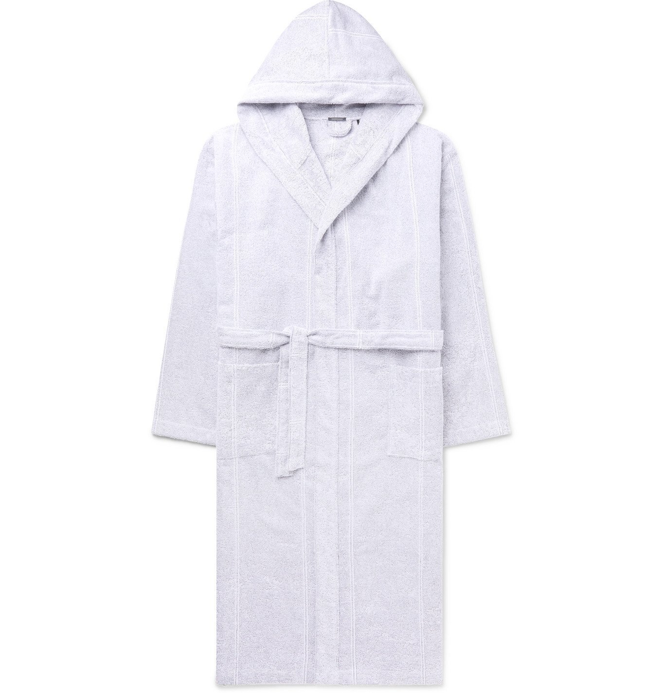 Photo: SCHIESSER - Striped Cotton-Terry Hooded Robe - Gray