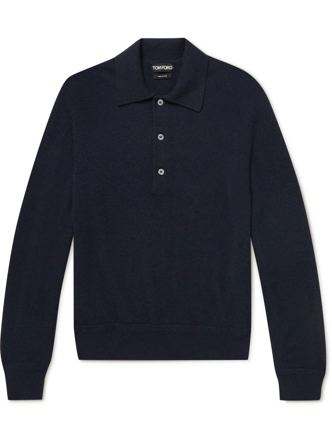 Photo: TOM FORD - Cashmere Polo Shirt - Blue