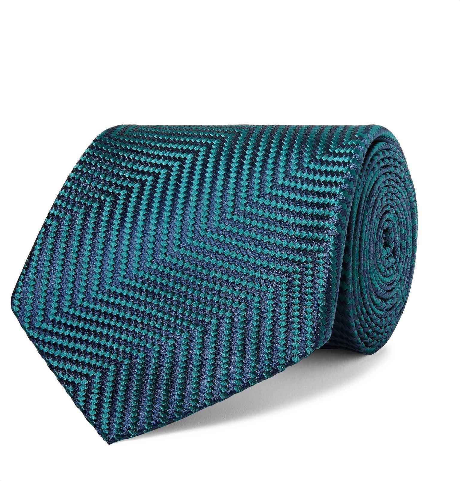 Photo: Charvet - 8.5cm Herringbone Silk-Jacquard Tie - Blue