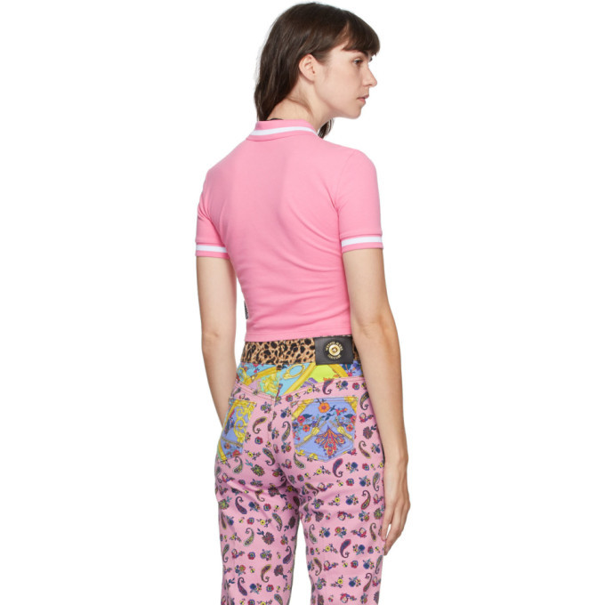 Versace Jeans Couture Pink Crop Institutional Logo Polo