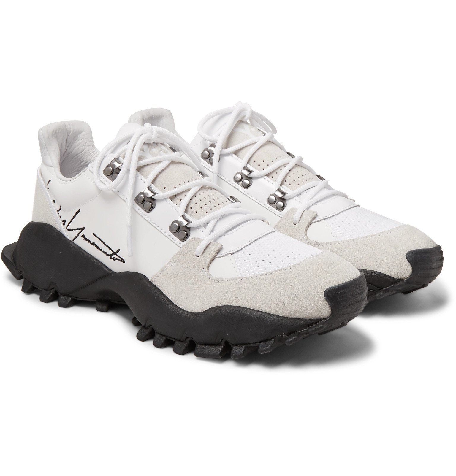 Photo: Y-3 - Kyoi Trail Leather, Suede and Mesh Sneakers - White