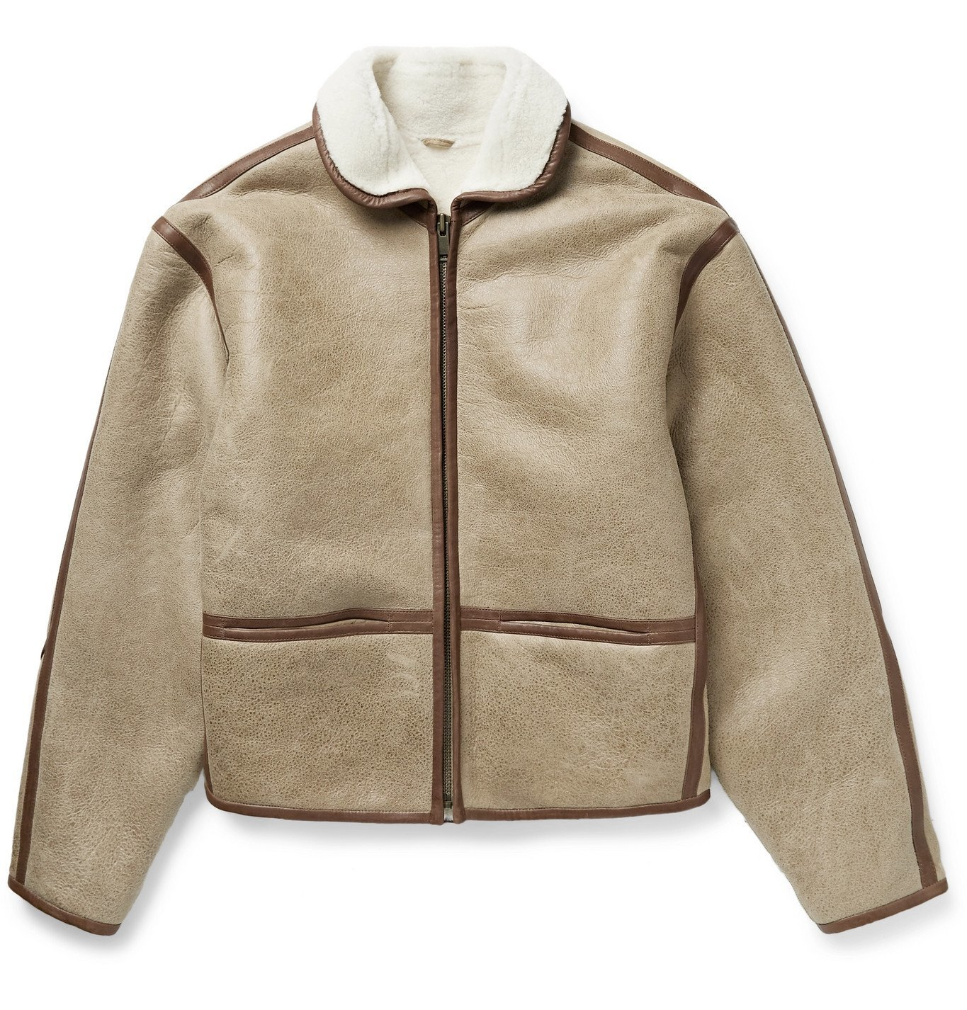 Photo: Isabel Marant - Akis Leather-Trimmed Shearling Jacket - Neutrals