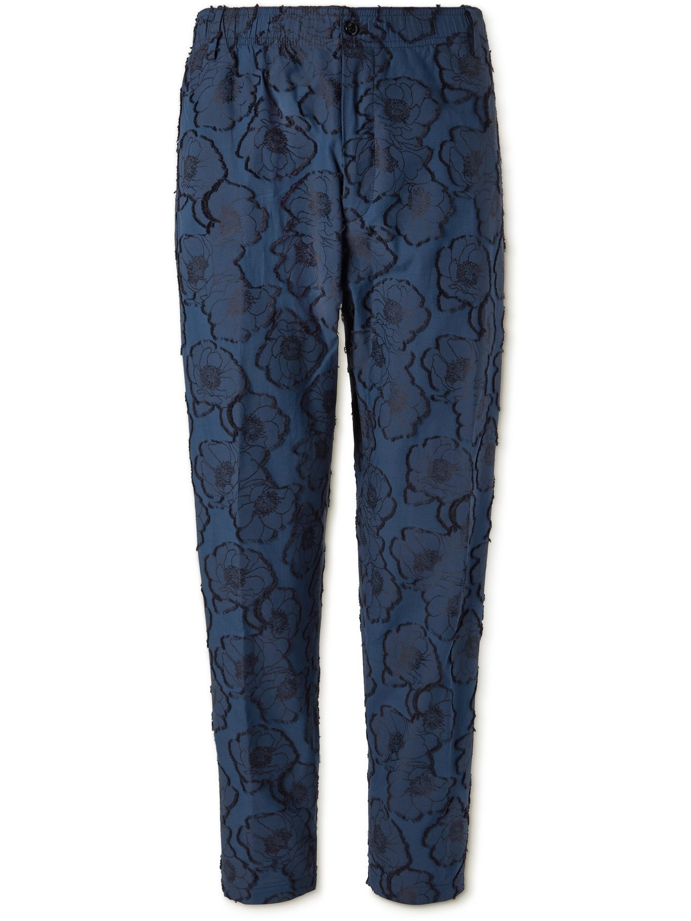 Photo: 4SDESIGNS - Tapered Fil Coupé Cotton-Jacquard Trousers - Blue