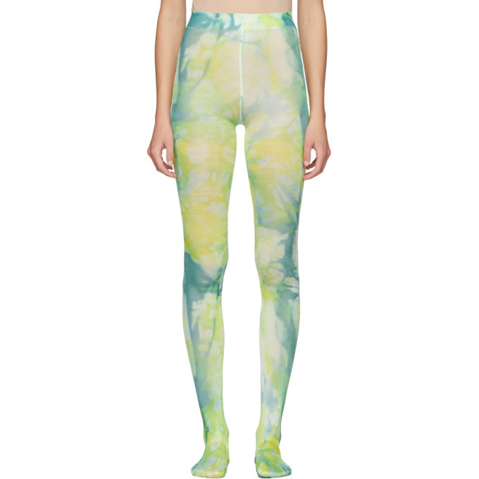 Photo: Versace Green and Blue Tie-Dye Tights