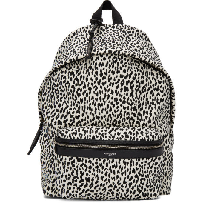 Photo: Saint Laurent White and Black City Backpack