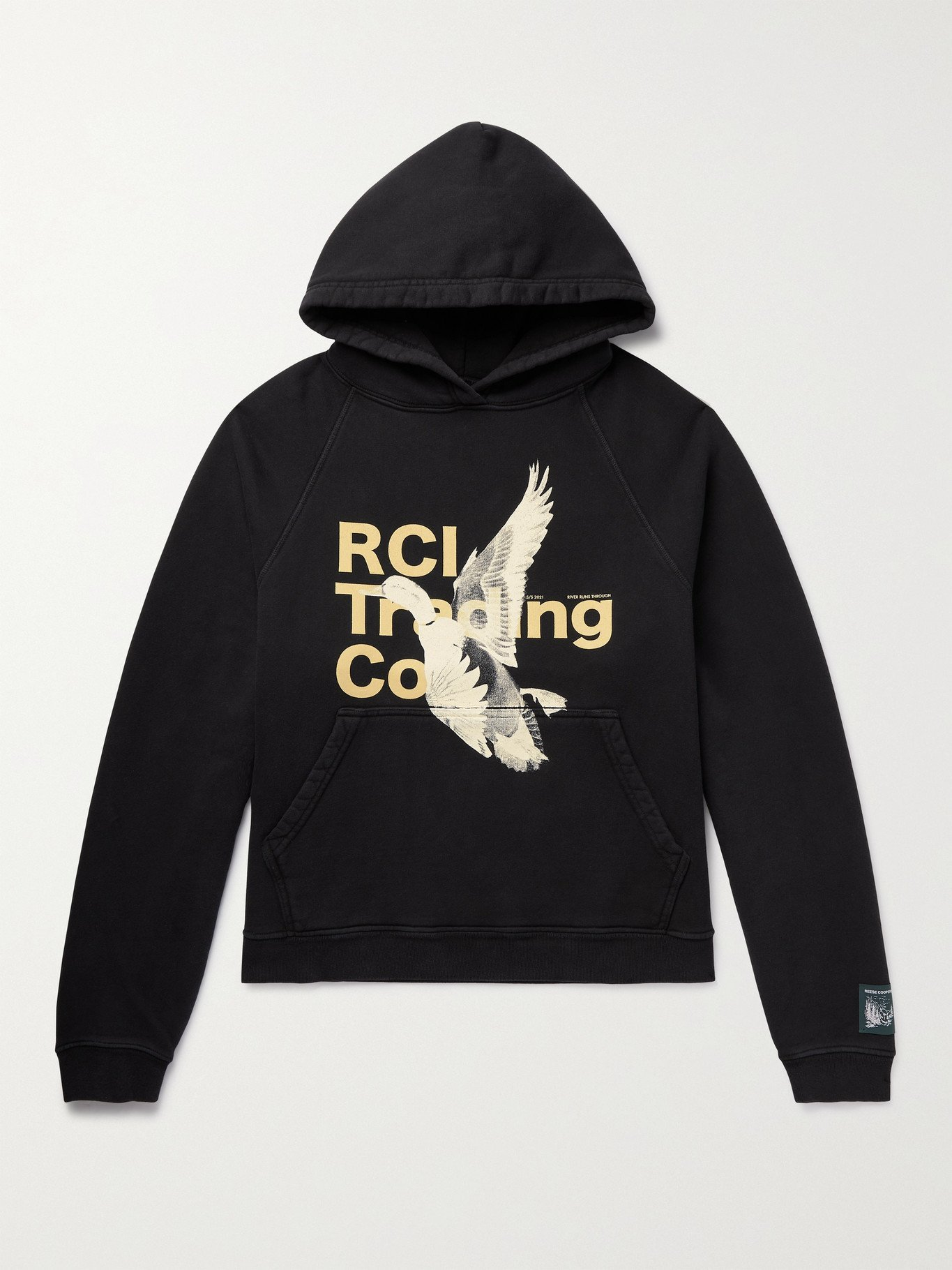 Photo: Reese Cooper® - Printed Loopback Organic Cotton-Jersey Hoodie - Black