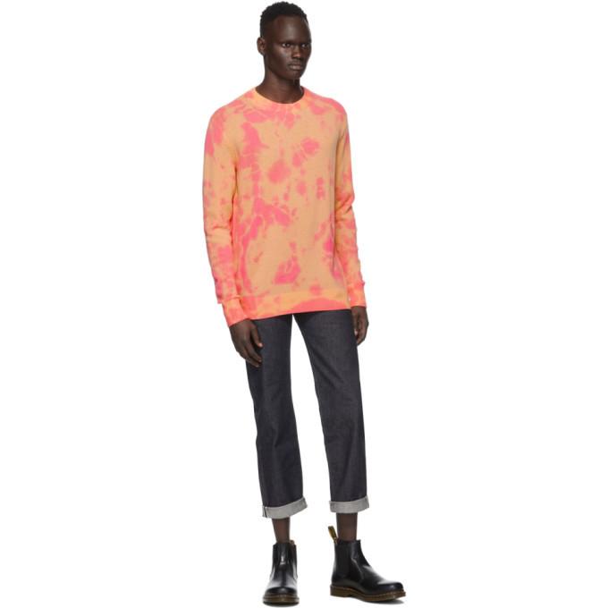 The Elder Statesman SSENSE Exclusive Pink and Orange Tranquility Crewneck Sweater