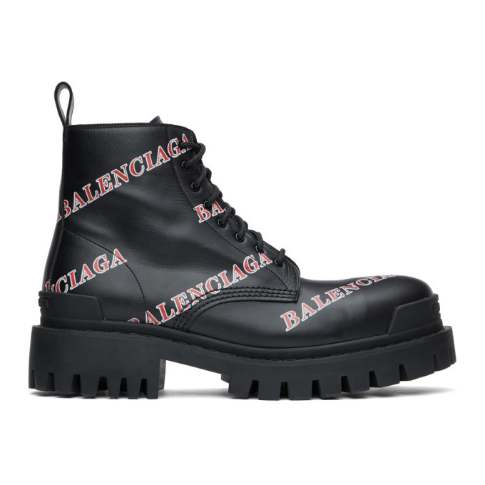 Photo: Balenciaga Black and Red Allover Logo Strike Boots