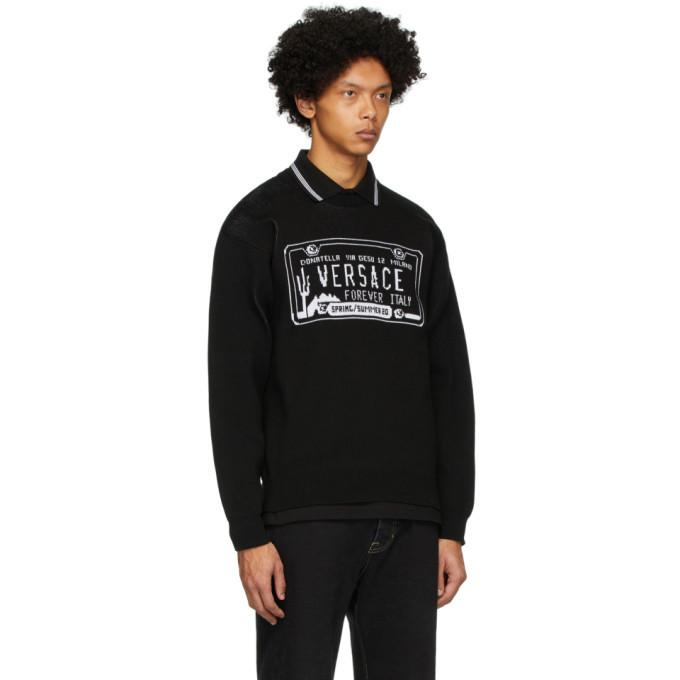 Versace Black License Plate Sweatshirt