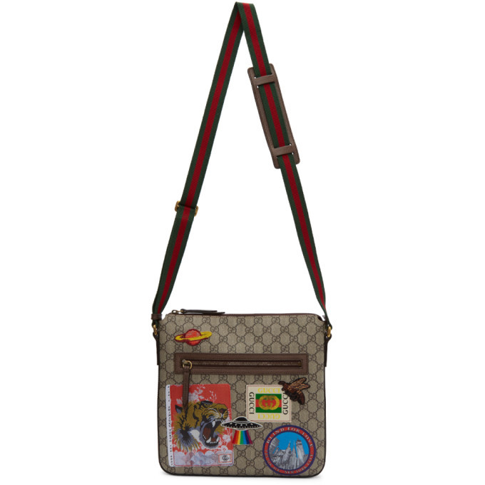 Photo: Gucci Beige and Brown GG Supreme Patches Courier Messenger Bag