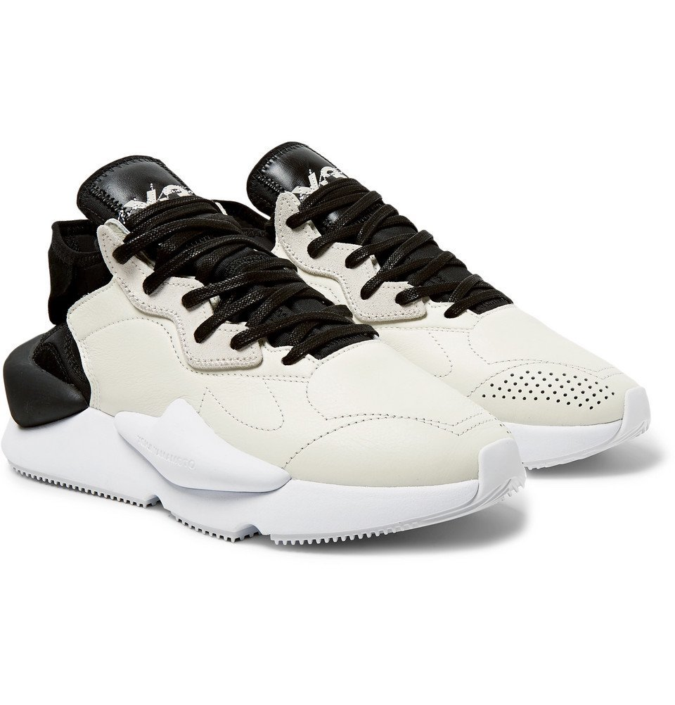 Photo: Y-3 - Kaiwa Suede-Trimmed Leather and Neoprene Sneakers - Ecru