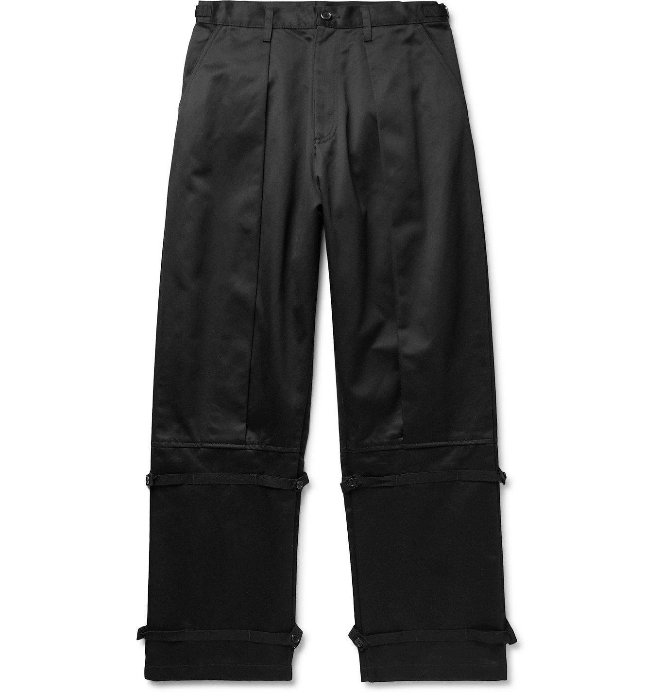 Photo: Undercover - Wide-Leg Webbing-Trimmed Pleated Cotton-Twill Trousers - Black