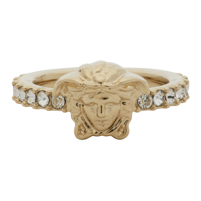 Photo: Versace Gold Medusa Head Crystal Ring