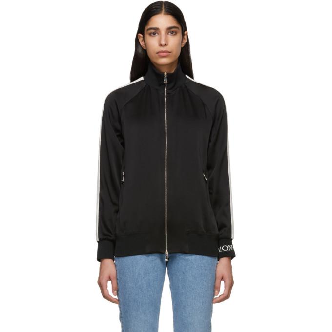 Photo: Moncler Black Satin Zip-Up Jacket