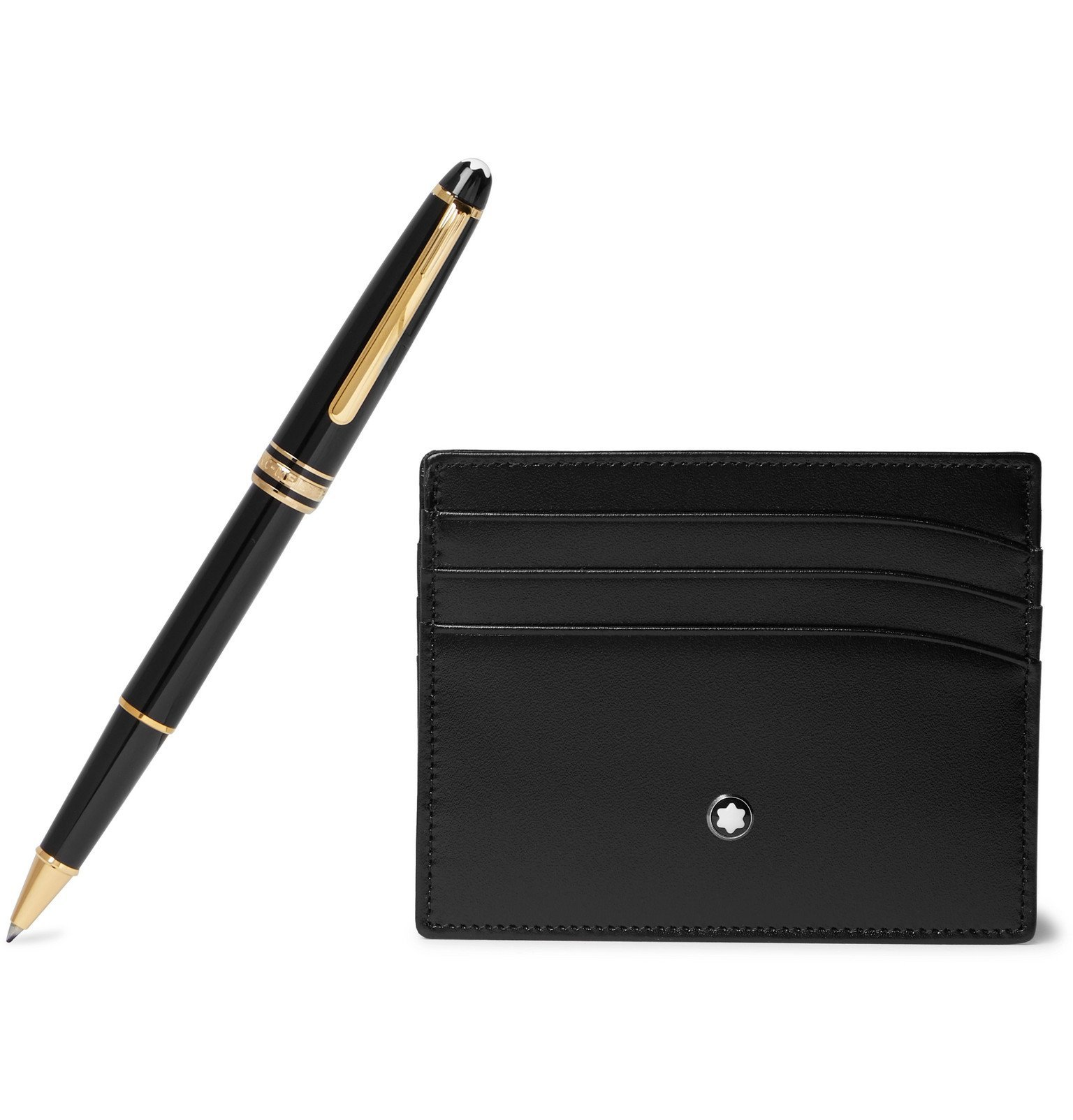 Photo: Montblanc - Meisterstück Leather Cardholder and Resin Rollerball Pen Set - Black