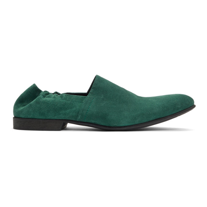 Photo: Haider Ackermann Green Gathered Babouche Loafers