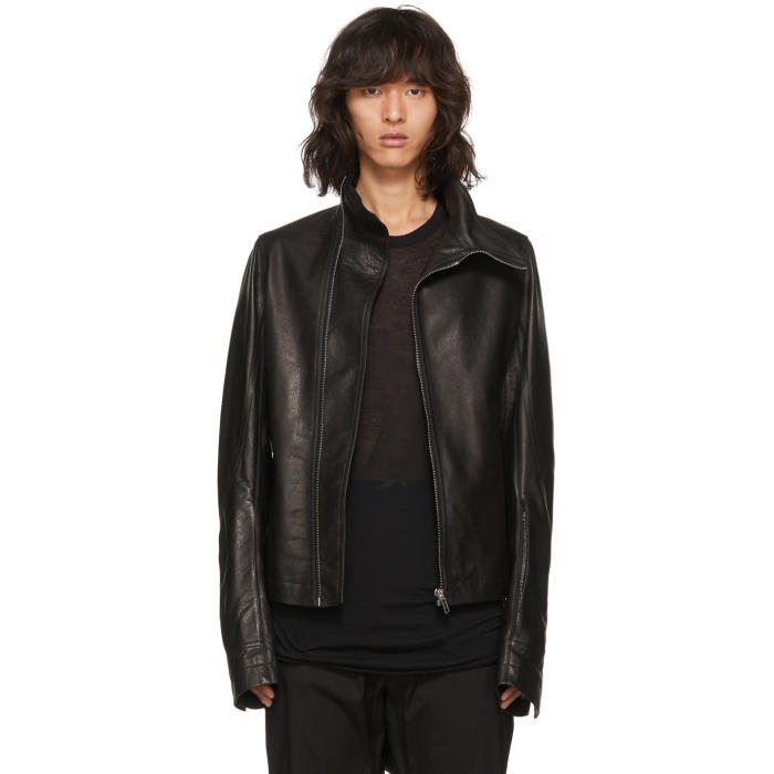 Photo: Rick Owens Black Leather Mollino Biker Jacket