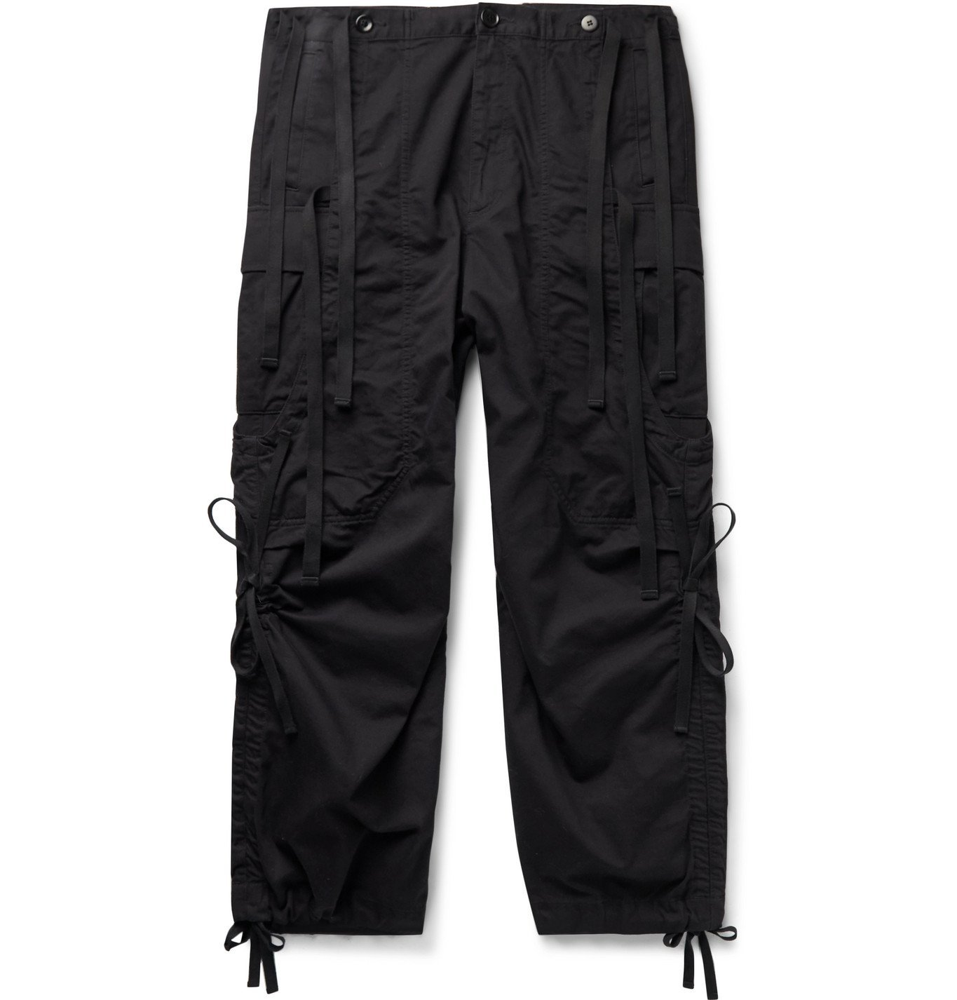 Photo: Undercover - Wide-Leg Grosgrain-Trimmed Cotton-Twill Cargo Trousers - Black
