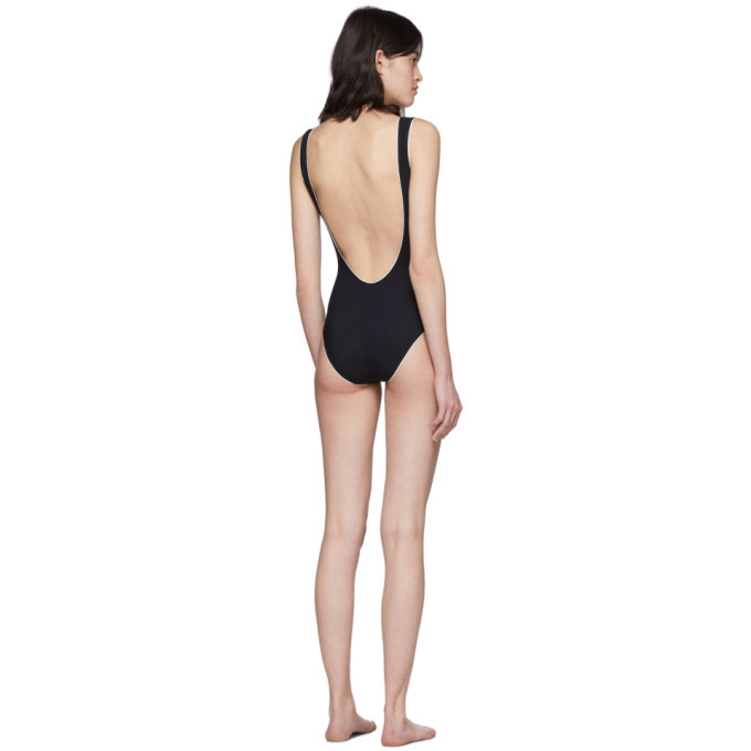 Dolce and Gabbana Black Contrast One-Piece Swimsuit