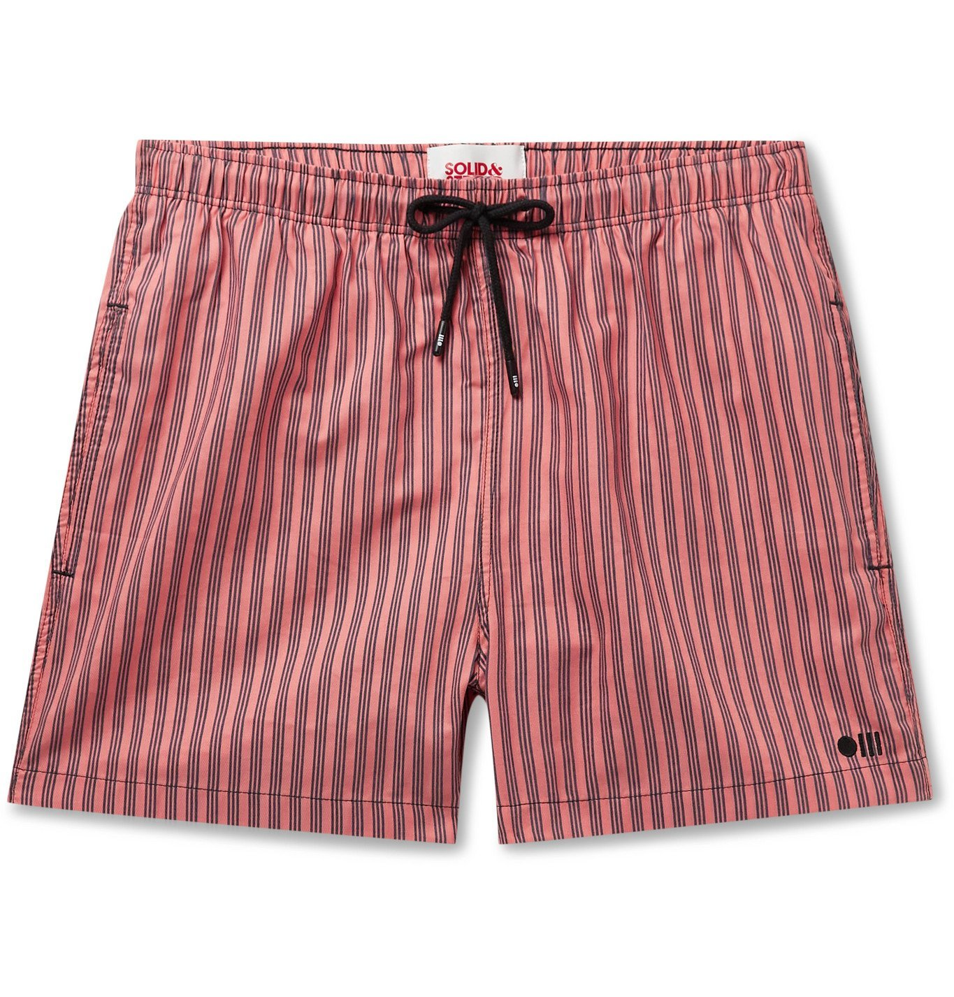 Photo: Solid & Striped - The Classic Mid-Length Striped Swim Shorts - Orange
