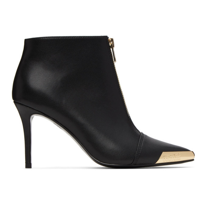 Photo: Versace Jeans Couture Black and Gold Cap Ankle Boots