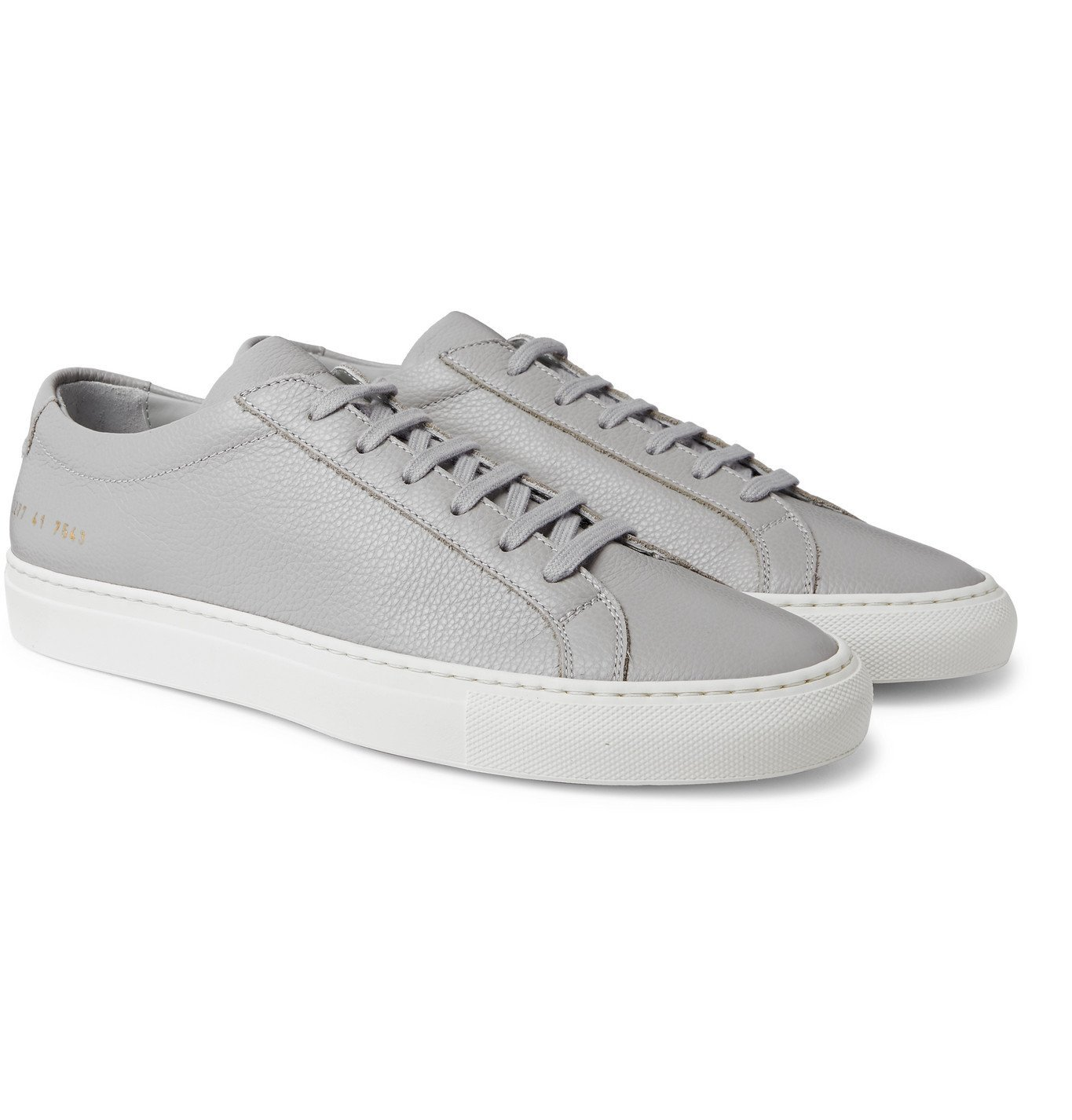 Common Projects - Achilles Pebble-Grain Leather Sneakers - Gray