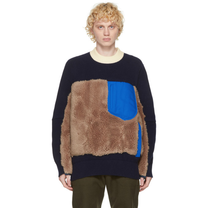 Photo: Sacai Navy and Brown Wool Sherpa Sweater