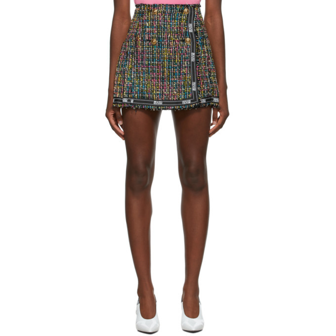 Photo: Versace Jeans Couture Multicolor Tweed Pleated Miniskirt