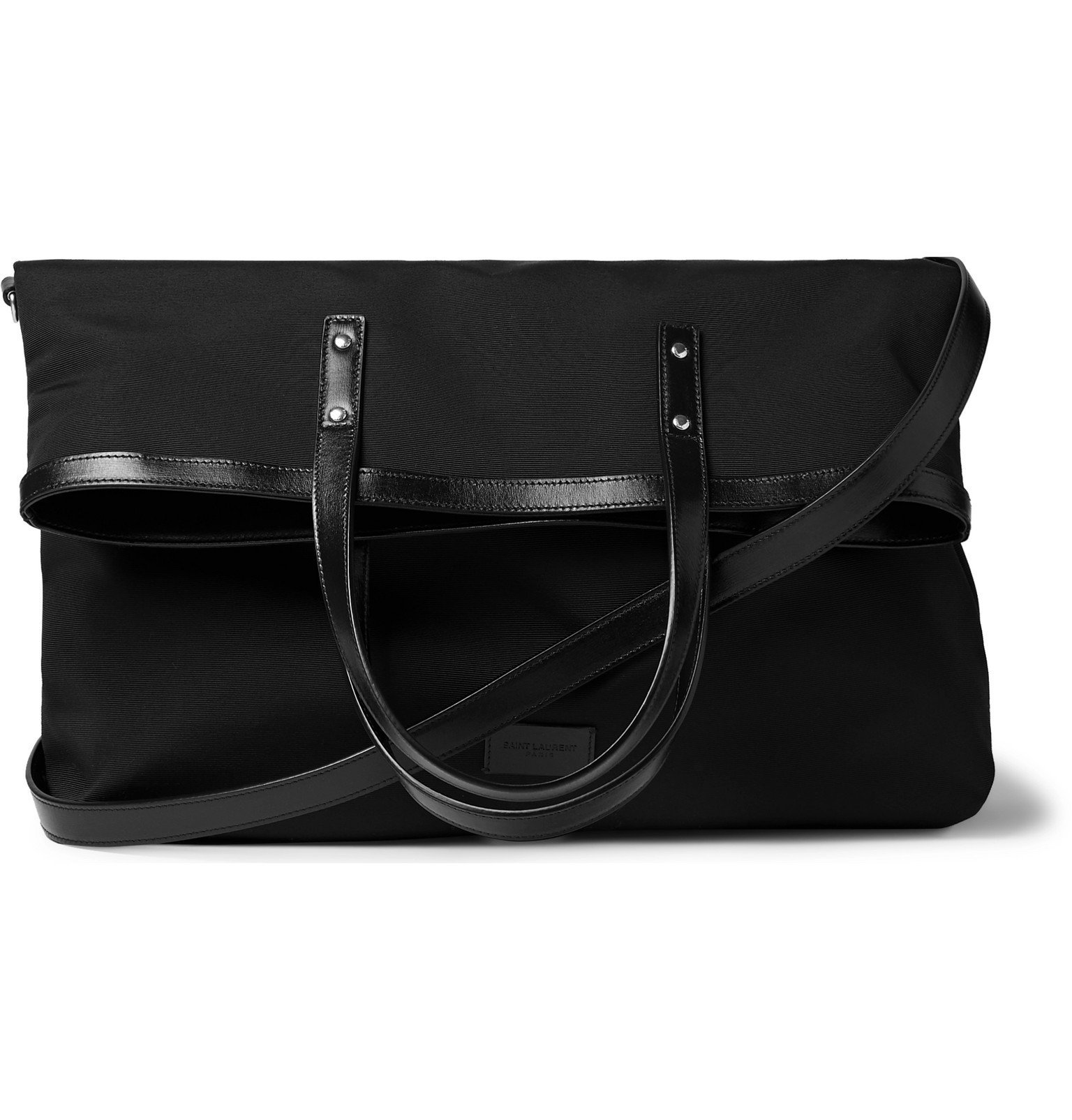 Photo: SAINT LAURENT - Foldable Leather-Trimmed Faille Tote Bag - Black