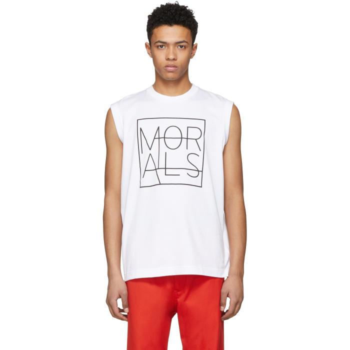 Photo: Johnlawrencesullivan White Sleeveless Morals Muscle T-Shirt