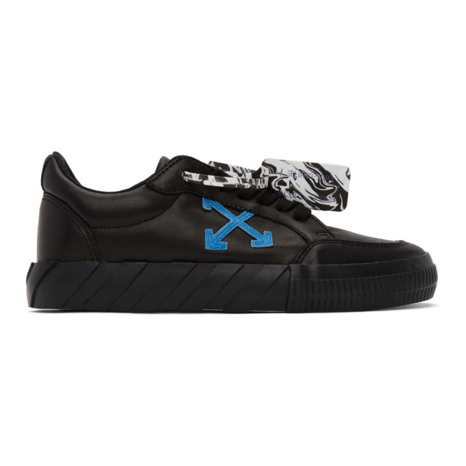 Photo: Off-White Black Leather Vulcanized Sneakers