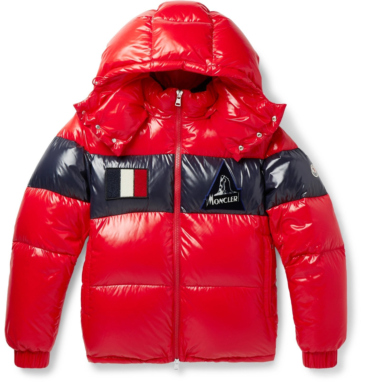 Photo: Moncler - Slim-Fit Striped Quilted Glossed-Nylon Hooded Down Jacket - Red