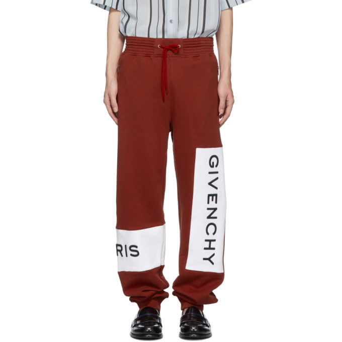 Photo: Givenchy Red Cotton Logo Lounge Pants