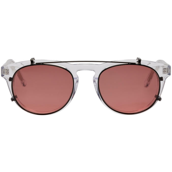 Photo: Han Kjobenhavn Transparent and Red Timeless Clip-On Sunglasses