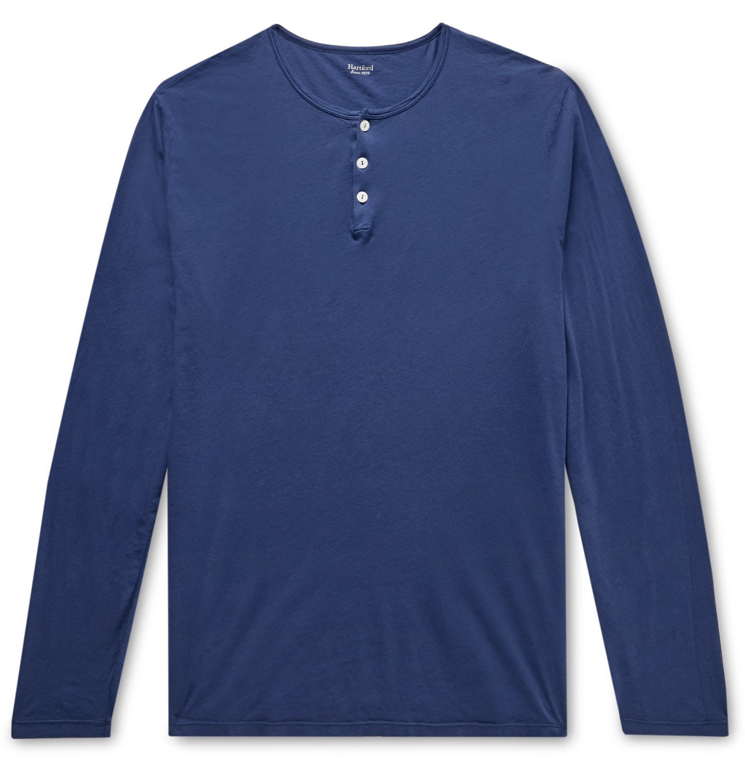 Photo: Hartford - Cotton-Jersey Henley T-Shirt - Blue