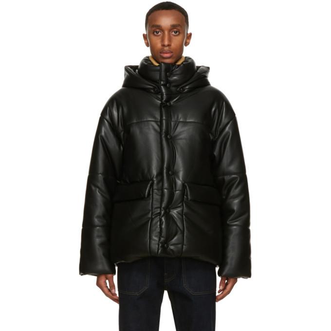Photo: Nanushka Black Faux-Leather Puffer Hide Jacket
