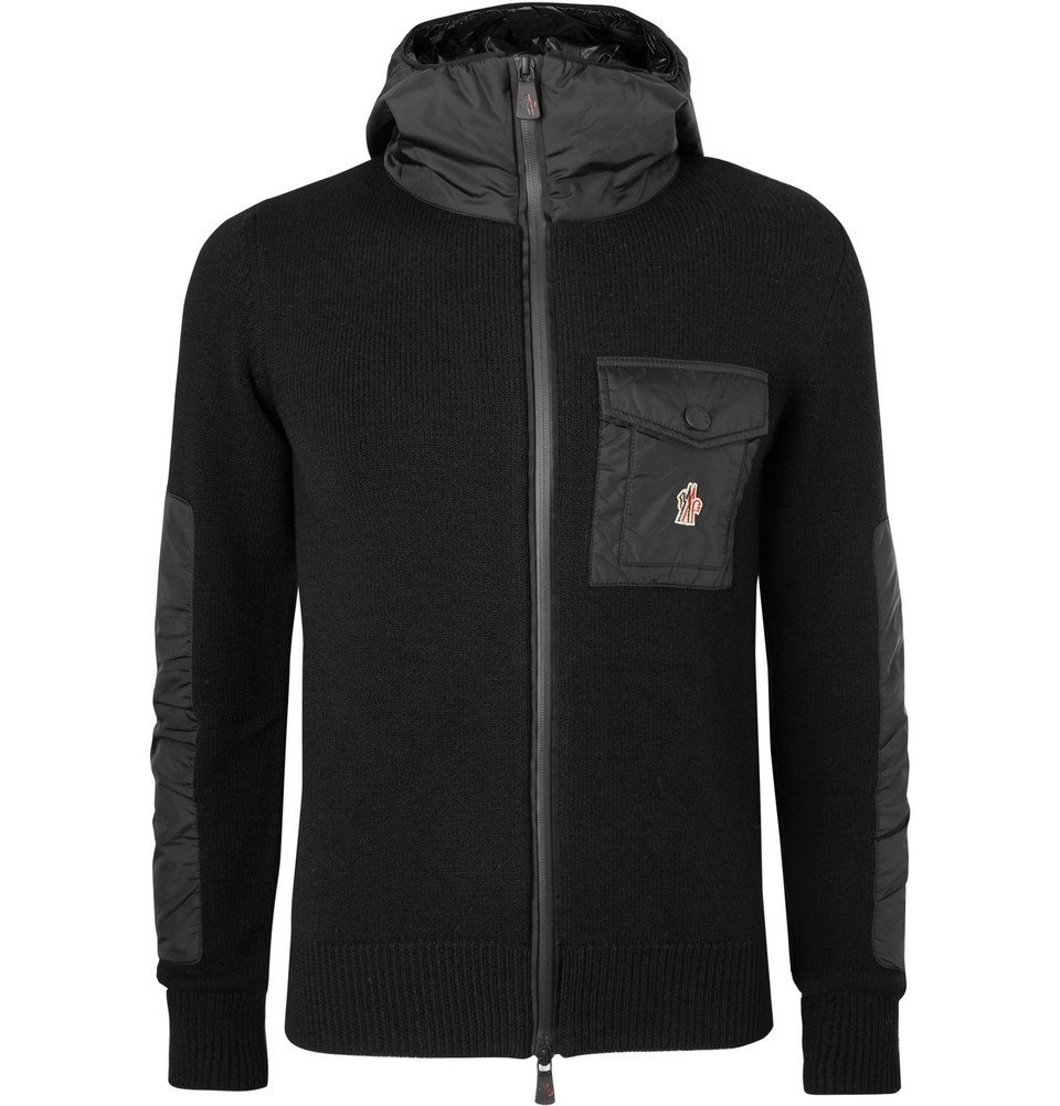 Photo: Moncler Grenoble - Panelled Merino Wool-Blend Hooded Jacket - Black