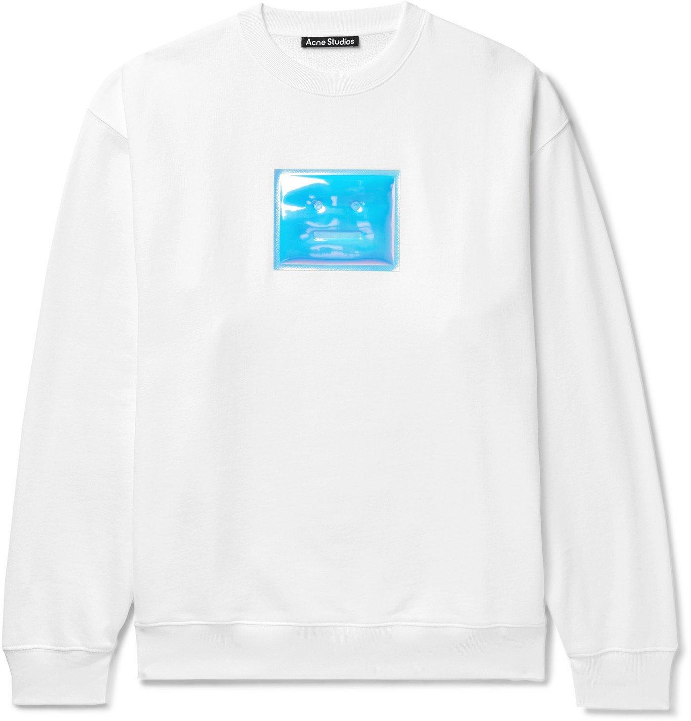 Photo: ACNE STUDIOS - Forba Oversized Iridescent Logo-Detailed Loopback Cotton-Jersey Sweatshirt - White