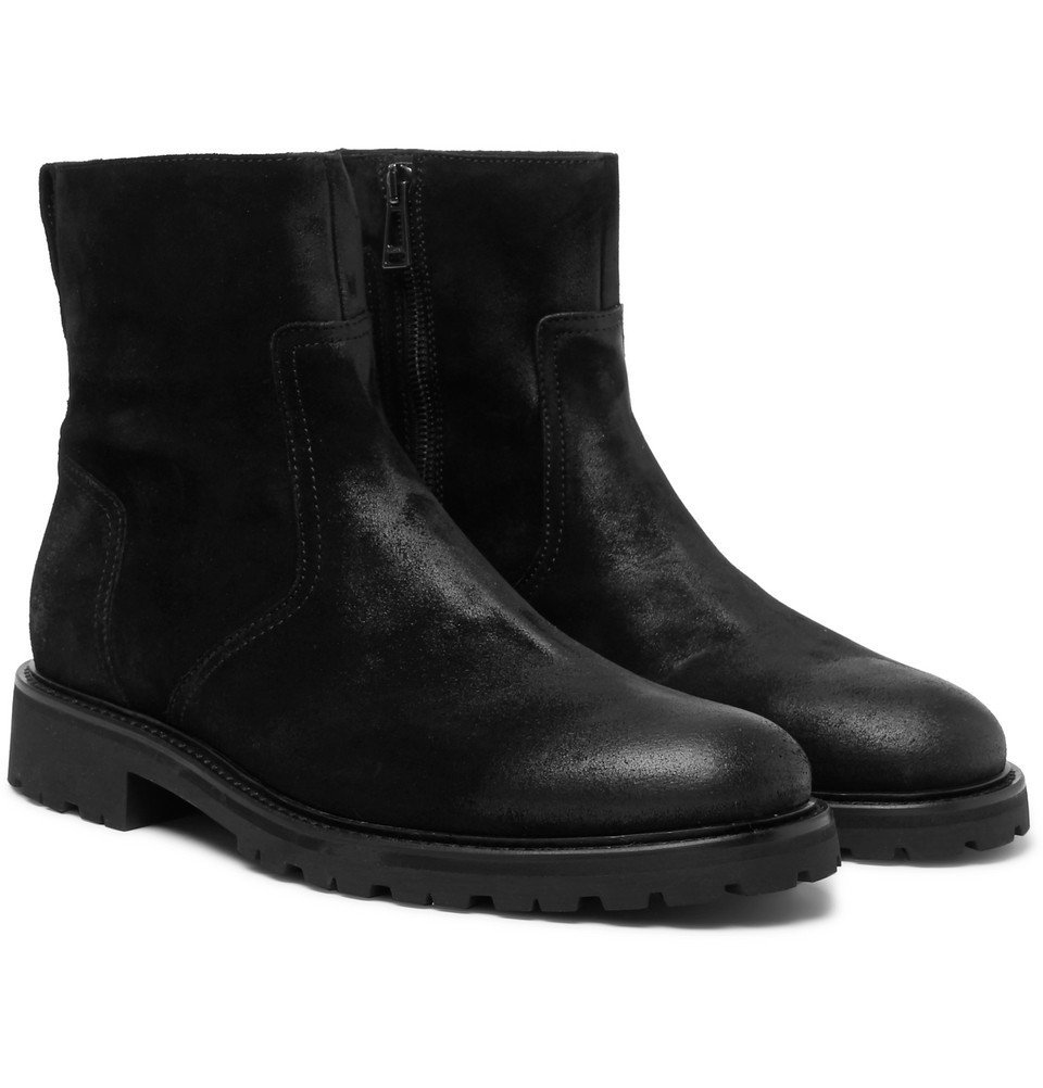 Belstaff - Attwell Burnished-Suede Boots - Black