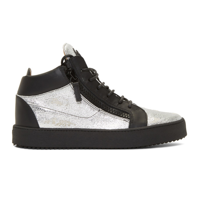 Photo: Giuseppe Zanotti Black and Silver Kriss High-Top Sneakers