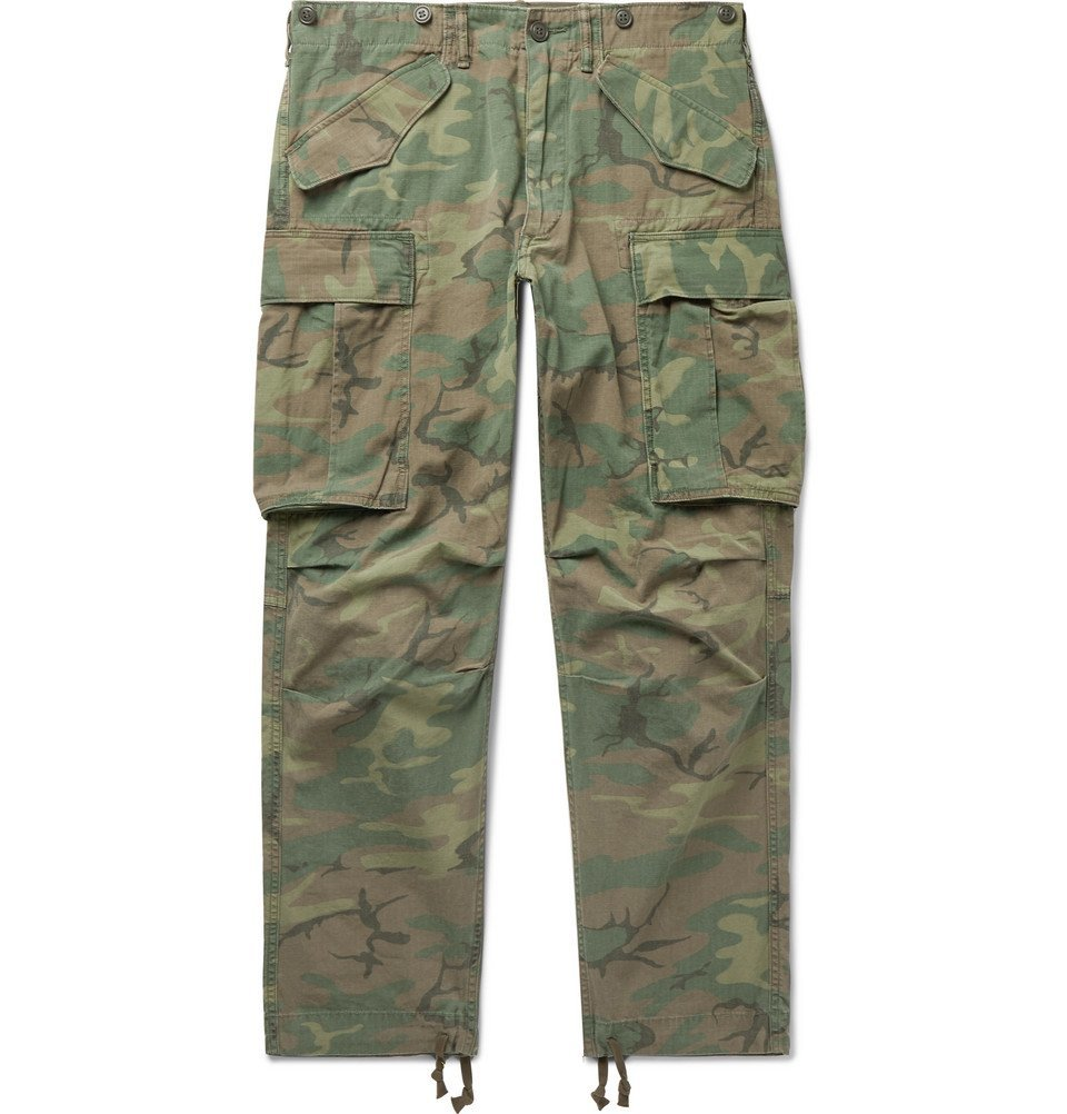 RRL - Camouflage-Print Cotton-Ripstop Cargo Trousers - Men - Army green