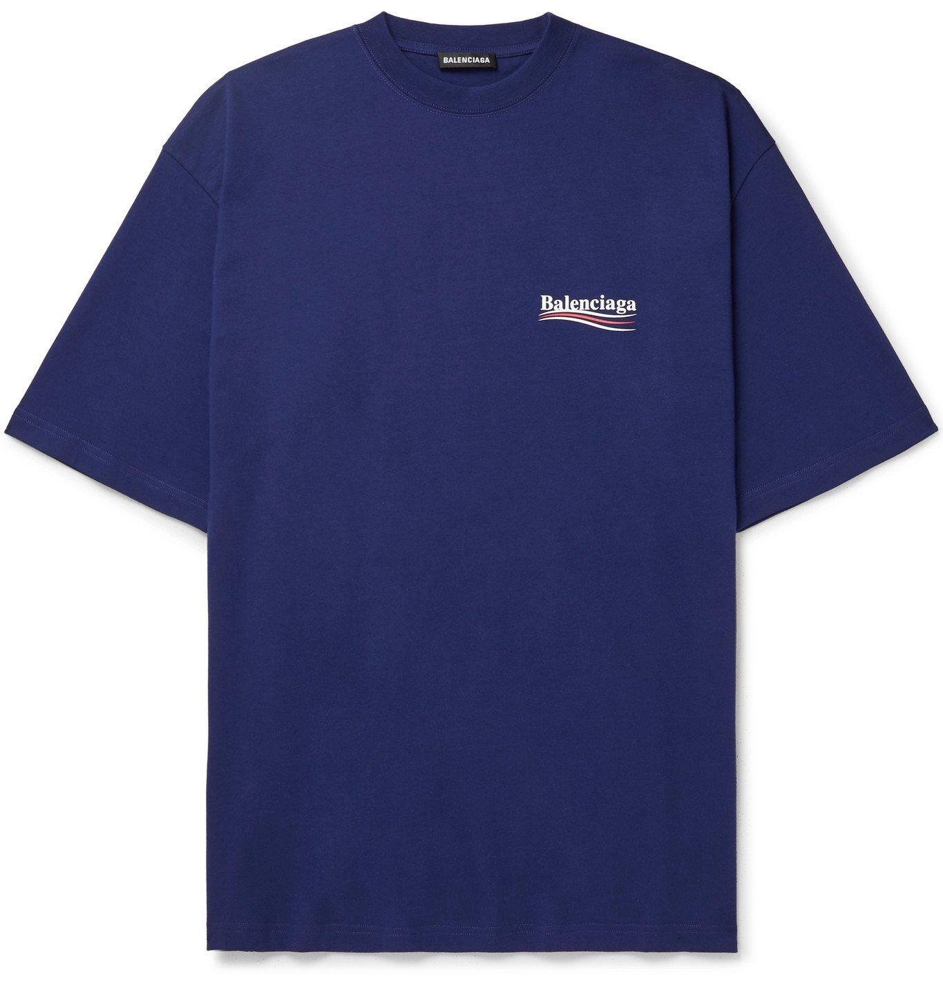 Photo: Balenciaga - Oversized Logo-Print Cotton-Jersey T-Shirt - Blue