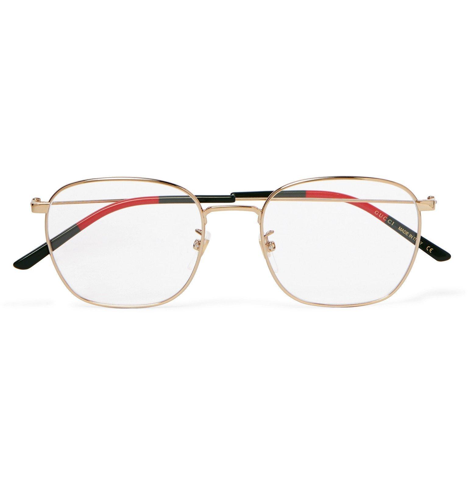 Photo: Gucci - Square Frame Gold-Tone and Acetate Optical Glasses - Gold