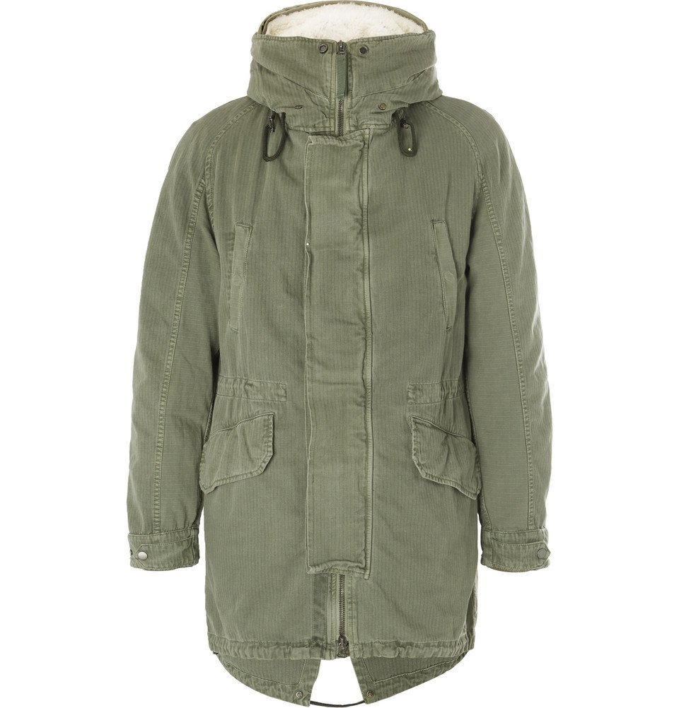Photo: Yves Salomon - Shearling-Trimmed Hooded Canvas Down Parka - Men - Green