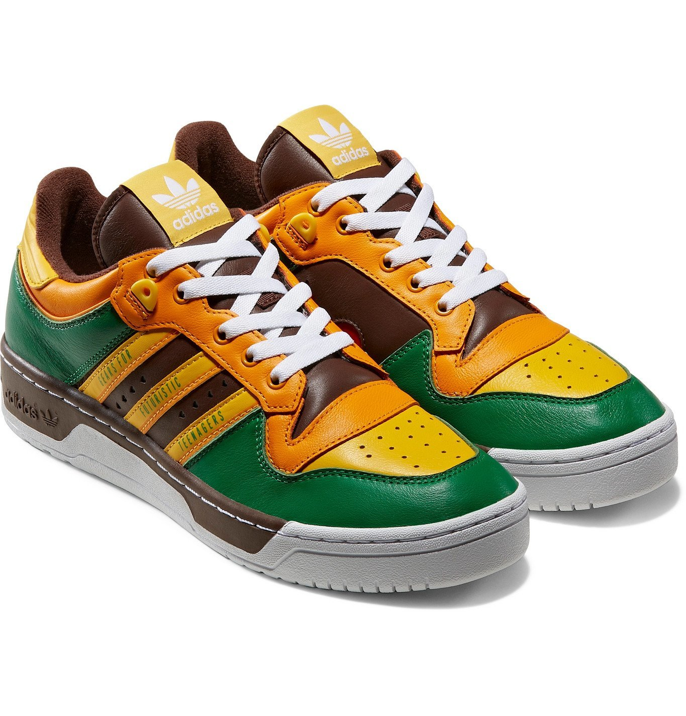 Photo: adidas Consortium - Human Made Rivalry Colour-Block Leather Sneakers - Green