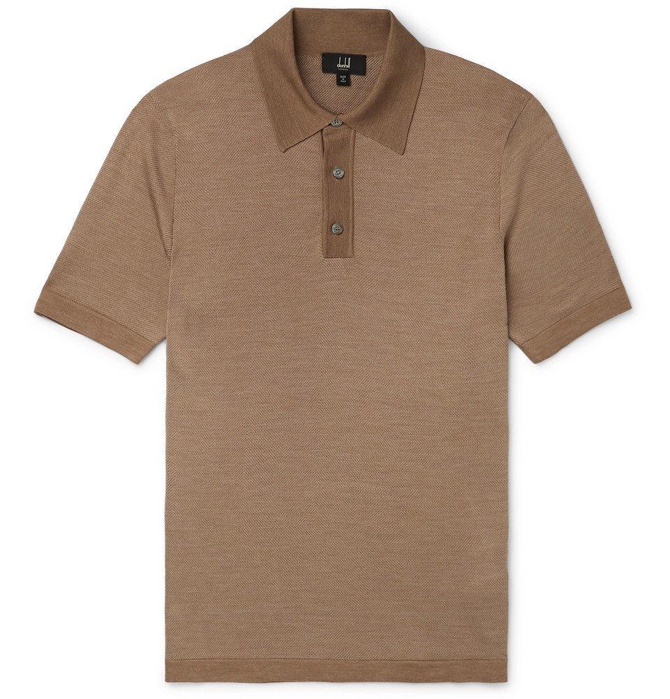 Dunhill - Herringbone-Knit Mulberry Silk Polo Shirt - Camel