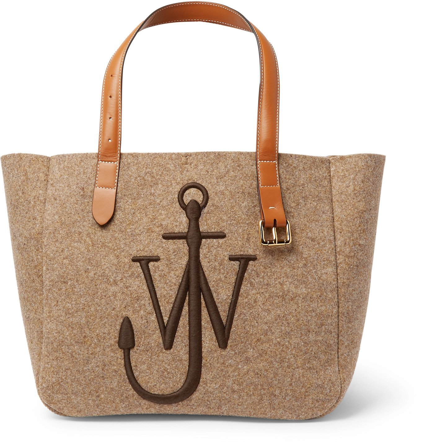 Photo: JW Anderson - Logo-Embroidered Leather-Trimmed Felt Tote Bag - Brown